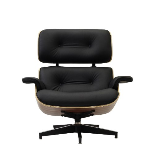 eaze lounge chair in black leather and palisander wood furniture chairs chaises. Black Bedroom Furniture Sets. Home Design Ideas