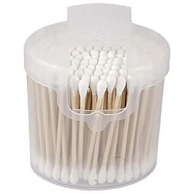 1 Pack Double End Wooden Grip Cotton Swab Bud Ear Wax Remover Picks White