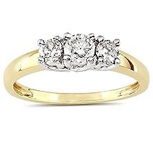 buy Luscious Three Stone Trilogy Diamond Engagement Ring 1 Carat Round Cut Diamond On Gold