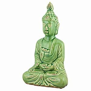 Serene buddha ceramic statue 15 home decor accessories for Buddha decorations for the home uk