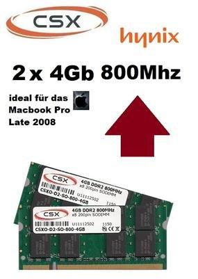CSX Original (Mihatsch Diewald) 8GB Dual Channel Kit 2 x 4 GB 200 pin DDR2-800 SO-DIMM (800Mhz, PC2-6400S, CL6) - passend für aktuelle DDR2 Notebooks mit 8GB Unterstützung