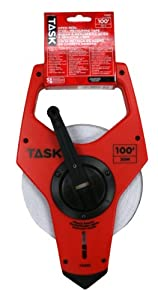 Task Tools TS830 100-Feet Open Reel Fiberglass Tape Measure, Nylon-Coated with  3X Gear Drive