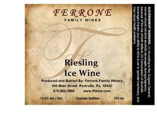 Nv Ferrone Family Winery Riesling Ice Wine 375 Ml