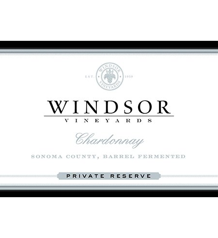 2012 Windsor Vineyards Chardonnay, Sonoma County, Barrel Fermented, Private Reserve, 750Ml