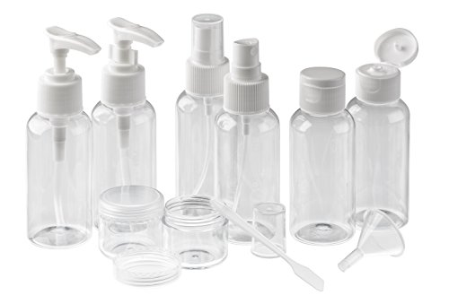 EasyLifeCare 11-Piece Travel Kit Storage Bottles - Lightweight BPA Free Non-Toxic Pump & Spray Pastic Bottle Containers & Jars - Ideal For Cosmetic, Bath & Shower Products: Cologne, Shampoo, Conditioner, Sunblock Lotion - Includes Transparent Cosmetic Zip Top Pouch Organizer for Make Up Accessories - TSA Screening Compliant (Travel Containers Bpa Free compare prices)