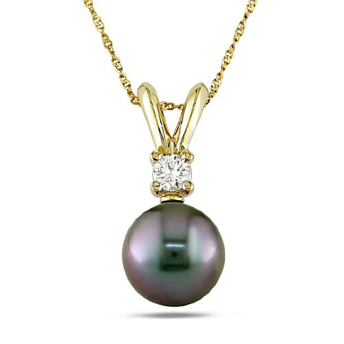 14k Yellow Gold Tahitian Black Pearl Pendant (0.05 Cttw, G-H Color, I1-I2 Clarity) (9.5-10.0mm)