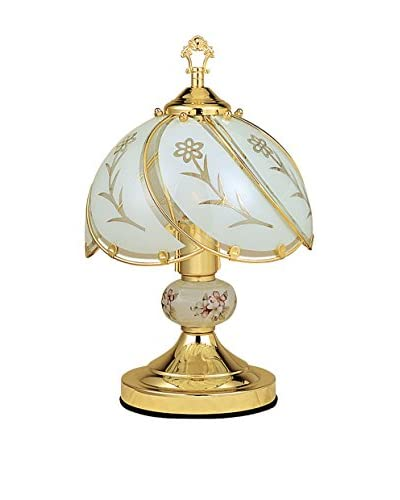 ORE International Floral Touch Lamp, White/Gold