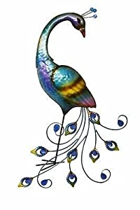 Peacock Metal Wall Art. Stunning Colours. 59cm tall. by FGN