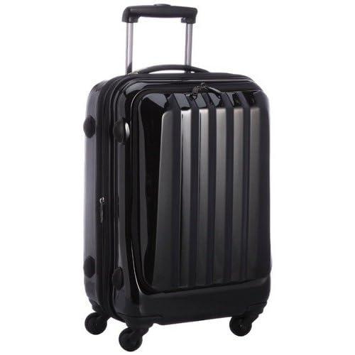 容量アップ拡張ジッパー付フロントオープンスーツケース ブラック
