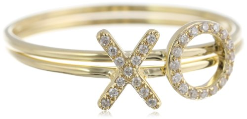"Kc Designs ""Peace And Love"" 14K Yellow Gold Diamond Xo Stack Ring, Size 7"