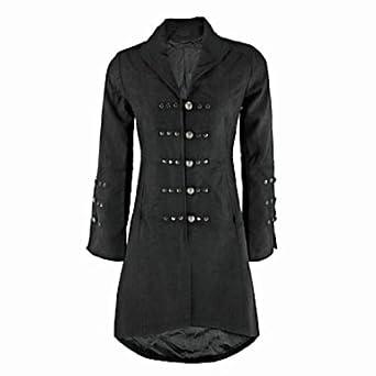 Victorian Black Gothic Military Long SteamPunk Indie Jacket Coat (XX-LARGE = UK 18)