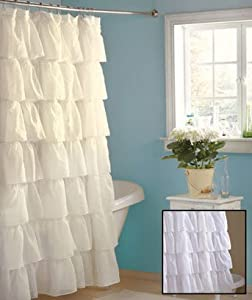 Amazon Shabby Country Ruffled White Shower Curtain