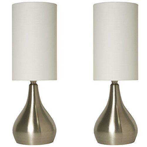 Light Accents Set of 2 Modern Table Lamps 18 Inches Tall with 3-Way Switch and White Fabric Drum shade (2 Pack Set) (End Table Lamps Set Of 2 compare prices)