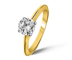 Attractive 18 ct Gold Ladies Solitaire Engagement Diamond Ring Brilliant Cut 1.00 Carat IJ-I2 Size J