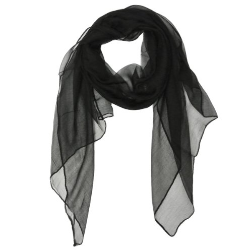 Wrapables Solid Color Silk Long Scarf, Black front-82633