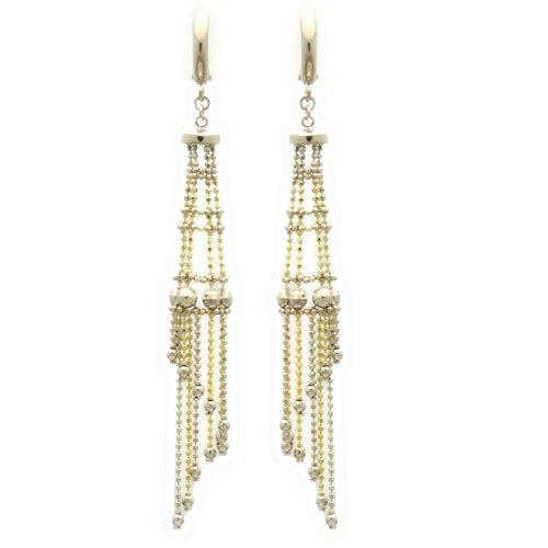 Sterling Silver Chain Earrings Skirt Gradation Drop Handmade Two Tone Silver Earrings