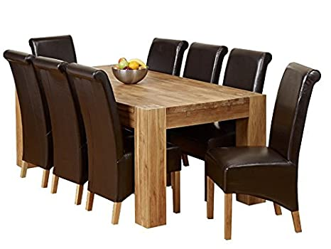 1home Full Solid Oak Dining Table Set with Chunky Legs Room Furniture 200cm (Table with 8 Chairs)
