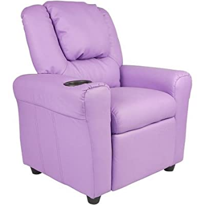 Flash Furniture Kids' Vinyl Recliner with Cup holder and Headrest, Multiple Colors | durable vinyl upholstery