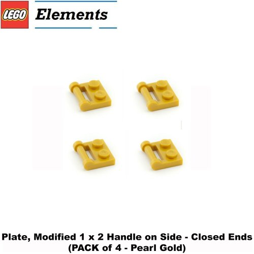 Lego Parts: Plate, Modified 1 x 2 with Handle on Side - Closed Ends (PACK of 4 - Pearl Gold) - 1
