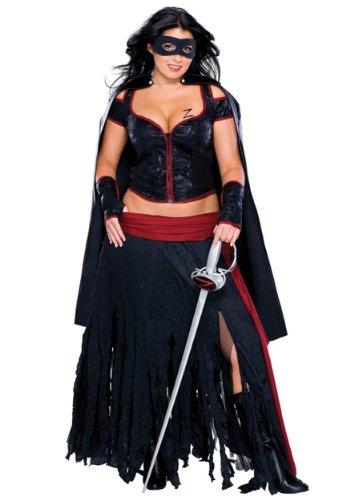 Women's Sexy Plus Size Zorro Costume (Size: 14-16)