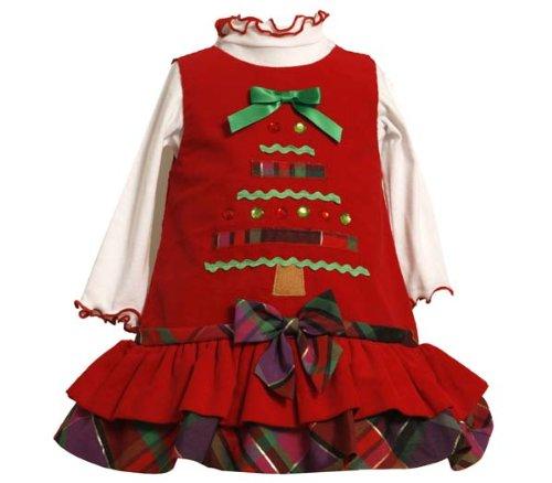 Bonnie Baby-Girls Newborn Corduroy Jumper Set With Tiered Skirt, Red, 6-9 Months front-941974
