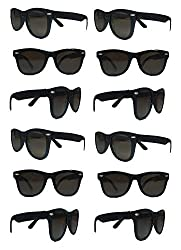 The Gags Party Pack 12 Plastic Retro Wayfarer Risky Business Blues Brothers Black Sunglasses For Graduation Mardi Gras Holidays Birthdays Parties One Size Fits Most Adults And Kids