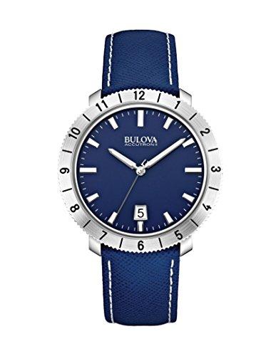 Bulova - 96B204 - Moonview - Montre Mixte - Quartz Analogique - Cadran Bleu - Bracelet Cuir Bleu