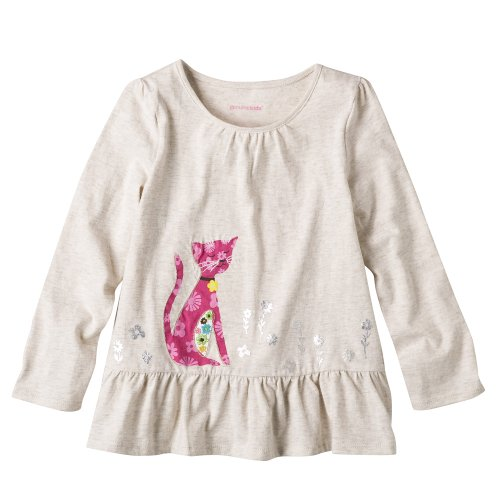 Toddler Girls' Genuine Kids from OshKosh Cream Long-Sleeve Cat Top 5T