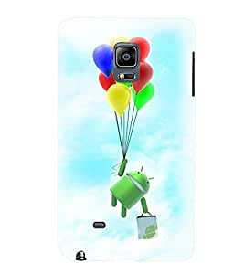Printvisa Cartoon Hanging On Multicoloured Baloons Back Case Cover for Samsung Galaxy Note Edge::Samsung Galaxy Note Edge N915