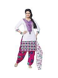 RK Fashion Womens Cotton Un-Stitched Salwar Suit Dupatta Material ( RAJGURU-PAHELI-9288-White-Free Size )