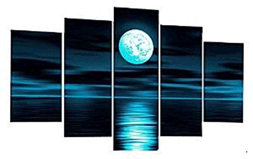 TJie Art Hand Painted Mordern Oil Paintings Color Full Moon Night Sea Home Decoration Abstract Landscape Oil Painting Splice 5-piece/set on Canvas