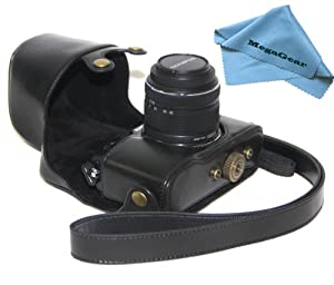"""MegaGear """"Ever Ready"""" Protective Black Leather Camera Case, Bag for Olympus PEN E-P5 + 17mm + 14-42mm II R EP5 camera"""