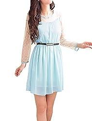 Ladies Semi-Sheer Long Sleeves Splicing Belted Dress Light Blue M