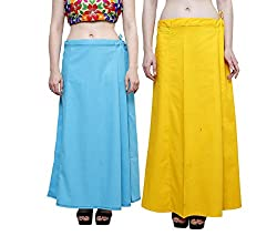 JUST CLIKK PETTICOATS FOR WOMENS COMBO OF 2, COTTON SOLID PLAIN