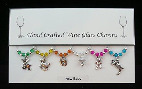 New Baby Lot de 6 breloques pour verre à vin fait main Multicolore
