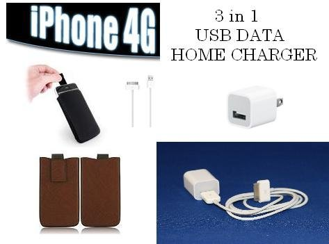 Brand New 3 in 1 Super Deal Original Data Cable USB Charger + Iphone Leather Slip-in case (brown)