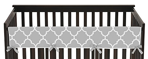 Sweet Jojo Designs Gray and White Trellis Lattice Long Front Rail Guard Baby Teething Cover Crib Protector Wrap (Bed Rail Replacement Cover compare prices)