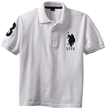 U.S. Polo Assn. Boys 8-20 Pique Polo, White, 8