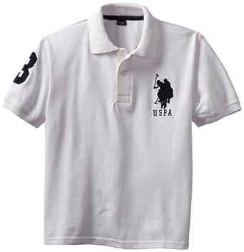 U.S. Polo Assn. Big Boys' Pique Polo, White, 8