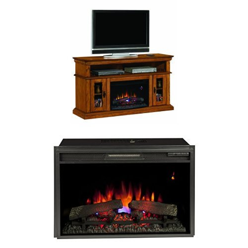 "Complete Set Brookfield Media Mantel In Premium Oak With 26"" Spectrafire Plus Insert With Safer Plug"