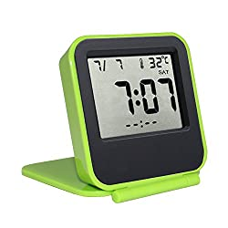 Samshow Travel Alarm Clock Battery Operated Portable Digital Desk Clock with Date / Week / Temperature / Repeating Snooze / Backlight (Green, Batteries Included)