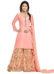 Samay Creation Peach Georgette Embroidered Semi-stitched Plazzo Suit Dress Material