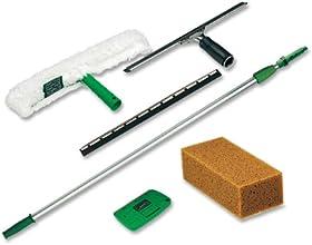 Unger Pro Window Cleaning Kit with 8 Foot Pole Scrubber Squeegee Scraper Sponge PWK00