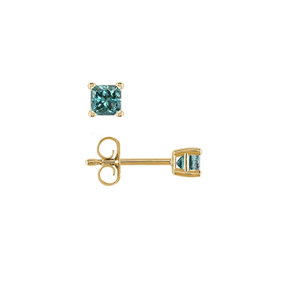 82fb1cc3e78b0 1/2 CT Princess Cut Blue Diamond Stud Earrings 14k Yellow Gold on ...