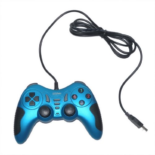 USB Double Dual Shock Joypad Game & Computer Controller - Cyanine & Black