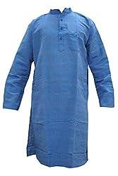 Indiatrendzs Men's Cotton Kurta (Mk-93B _Blue _44)