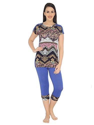 Valentine-Womens-Winterwear-Round-Neck-Top-Capri-Set-Blue