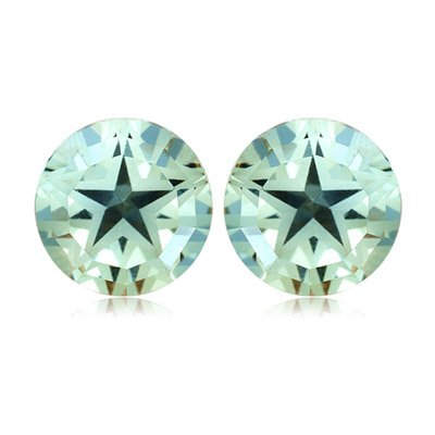 4.06-4.32 Cts of 8 mm AA Texas Star Green Amethyst Matched Pair ( 2 pcs ) Loose Gemstones