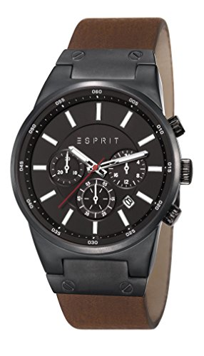 Esprit ES107961002 - Reloj de cuarzo para hombre, correa de cuero color marrón