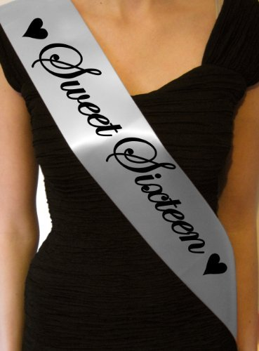 Sweet Sixteen 16th Sash- gift present birthday party decorations- SB1002 - Silver